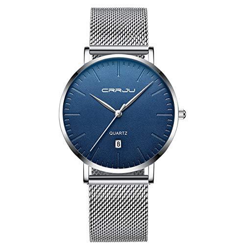 Mens Watch Deep Blue/Black Watch Ultra Thin Wrist Watches for Men Fashion Watch Waterproof Dress Stainless Steel Band White Blue Watch Black Womens Dress Watch