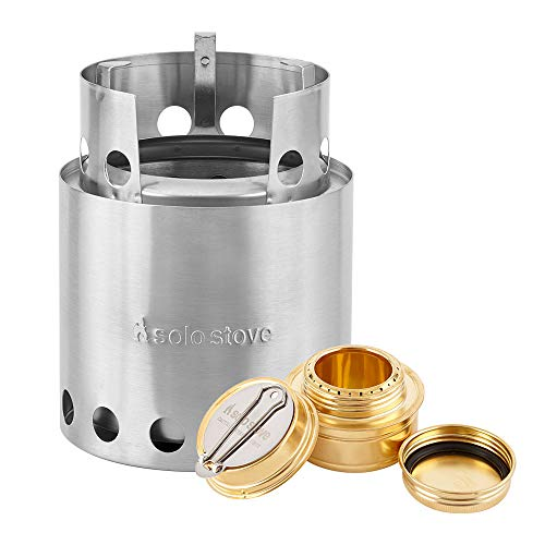(Solo Stove with Backup Alcohol Burner - Lightweight Kitchen Kit for Backpacking, Camping, Survival, Emergency Preparation. Burns Twigs - No Batteries or Liquid Fuel Gas Canister Required)