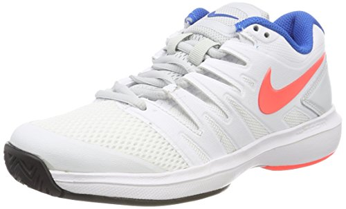 NIKE Women's Air Zoom Prestige Tennis Shoes Hardcourt - White/Hot Lava/Pure Platinum/Blue Nebula