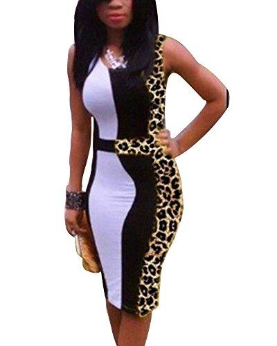 ZhuiKun Vestido de Noche Atractivo Bodycon del Partido de la Tarde del Verano de Las Mujeres Mini Vestido Leopardo