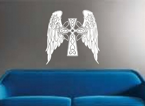 (Wall DECAL CELTIC CROSS & WINGS ANGELIC RELIGIOUS ART DECOR STICKER BY MCARTWORK)