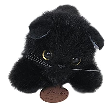 Japanese-made graceful Nesoberi CAT black cat stuffed full-length 24cm I-4252