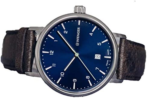 Cadran Bleu WENGER Urban Classic avec Bracelet en Cuir Marron foncé 01.1731.116