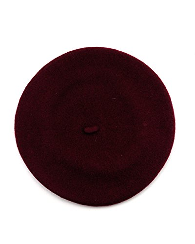 NYFASHION101 French Style Lightweight Casual Classic Solid Color Wool Beret, Burgundy ()