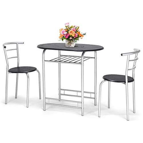 Top_Quality555 Round Dining Table Set Home Kitchen Breakfast Bistro Pub Furniture 3 PCS Set 2 Chairs