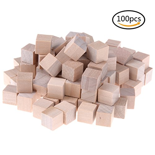 Yiphates 100 Pcs Wood Cubes 1cm Wood Square Blocks for Kid's DIY Craft Gifts Art Supplies (Wooden Colored 100 Pc Blocks)