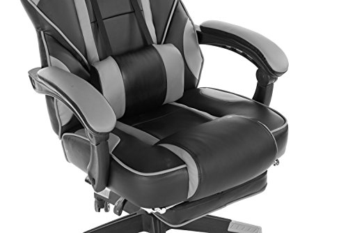 KILLABEE Reclining Memory Foam Racing Gaming Chair - Ergonomic High-Back Racing Computer Desk Office Chair with Retractable Footrest and Adjustable Lumbar Cushion, Grey by KILLABEE (Image #4)