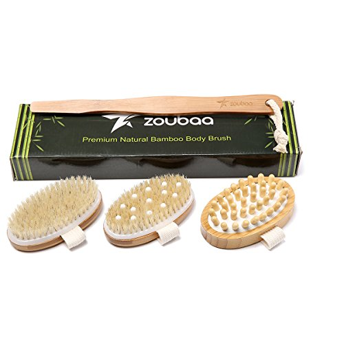 Premium Bamboo Long Handle Body Brush With Natural Boar Bristle Set Best For Wet Or Dry Skin Brushing Exfoliating Skin - Stimulating Lymphatic System Flow Increase Blood Circulation -Reduce Cellulite by zoubaa (Image #1)