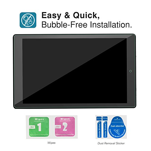 MoKo Screen Protector Compatible with Fire HD 10(7th Generation and 9th Generation, 2017 and 2019 Release), Anti-Scratch Full Coverage HD Clear 9H Hardness Tempered Glass Tablet Screen Protector Film