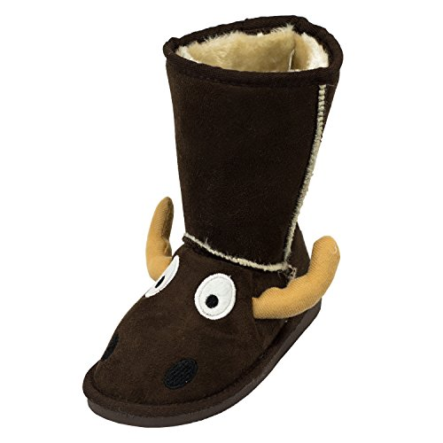 Boot Animal (Moose Boot Cute Animal Character Slippers for Kids by LazyOne | Boys and Girls Creature Slipper Boots)