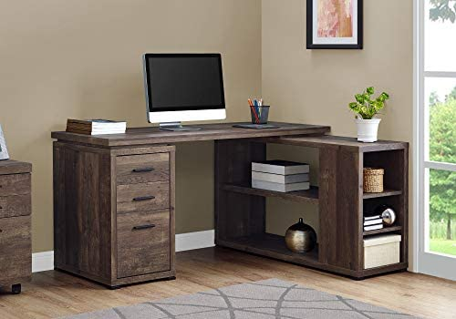"""Monarch Specialties Computer Desk L-Shaped Corner Desk with storage - Left or Right Facing - 60""""L (Brown Reclaimed Wood Look)"""