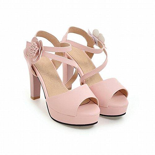 Charm Foot Womens Elegant Open Toe High Heel Ankle Strap Sandals Pink LM1POVMVU