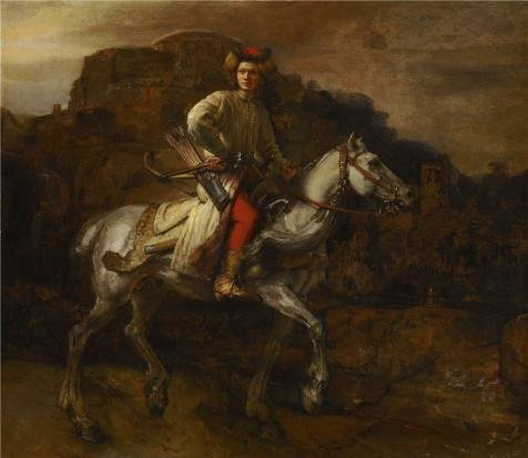 Perfect Effect Canvas ,the Vivid Art Decorative Prints On Canvas Of Oil Painting 'Rembrandt Harmensz. Van Rijn - The Polish Rider, C. 1655', 16x18 Inch / 41x47 Cm Is Best For Kitchen Gallery Art And Home Decoration And Gifts (Shell Pendant Polish Shells)