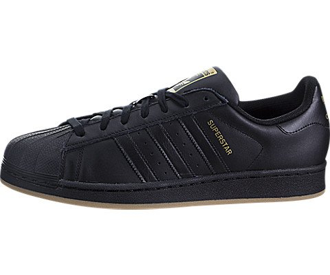 Black Star Shoes - adidas Originals Men's Superstar Sneaker, Black/Metallic Gold/Gum, 9.5 Medium US