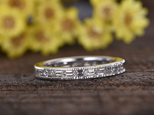 Solid 14k White Gold 2.2ct Baguette SI I-J Natural Conflict Free Diamond Full Eternity Stacking Engagement Ring Bridal Wedding Band Channel Set