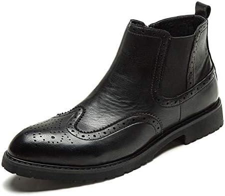 男性の足首の靴のためのチェルシーブーツはブローグは、翼端アンチスリップ通気性を彫刻サイドジッパーマイクロファイバーレザー弾性バンドでのプル YueB HAS (Color : ブラック, サイズ : 25 CM)