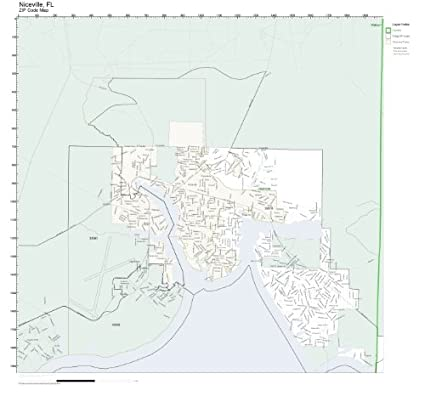 Niceville Florida Map.Amazon Com Zip Code Wall Map Of Niceville Fl Zip Code Map Not