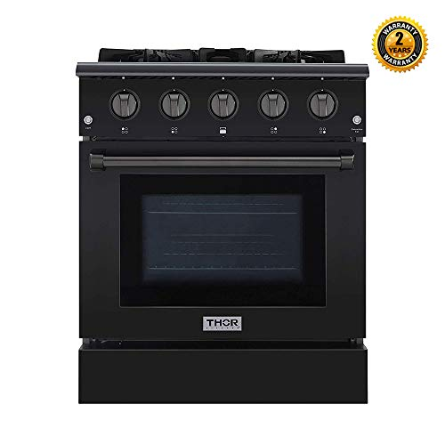 Thor Kitchen 30 inch Freestanding Pro-Style Professional Gas Range with 4.2 cu. ft, 4 Burners, in Black Stainless Steel - HRG3080-BS