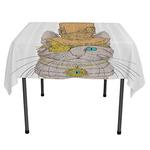 (Cat Lover Decor Outdoor Tablecloth Cute Punk Pirate Cat with Eye Collar Gothic Medieval Kitty Vintage Design Orange Brown Acrylic Coated Tablecloth Spring/Summer/Party/Picnic 50 by 80)