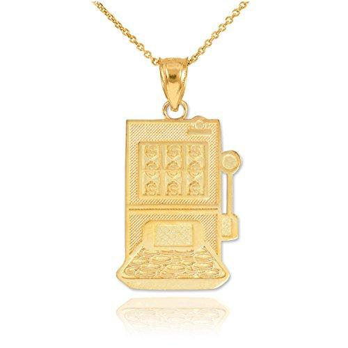 Fine 10k Yellow Gold Casino Slot Machine Pendant Necklace, 22