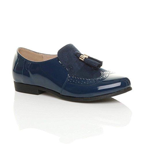 Ajvani Womens Ladies Low Heel Flat Tassel Vintage Style Smart Work Shoes Brogues Size Navy Patent VCn6jWa1