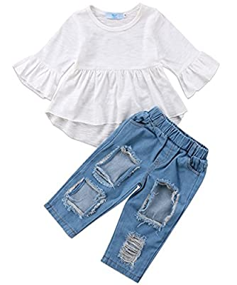 Canis 3pcs Baby Girls Kids Off Shoulder Lotus Leaf Top Holes Denim Jeans Headband Outfits Set