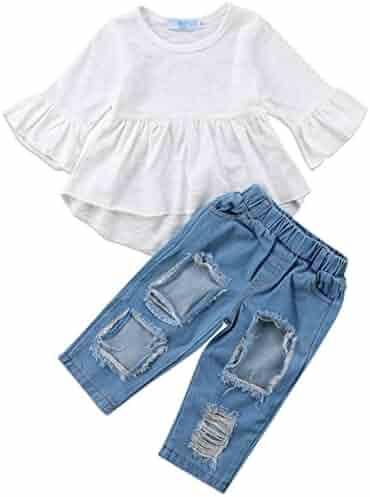 01afacf94ed9 3pcs Baby Girls Kids Off Shoulder Lotus Leaf Top Holes Denim Jeans Headband  Outfits Set