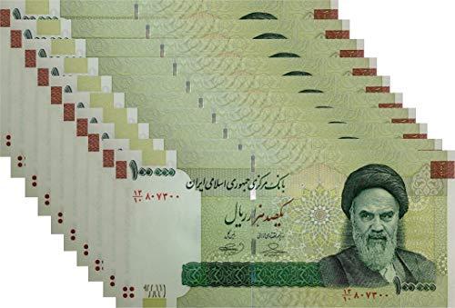 10 X 100000 Rials Iranian Banknote Uncirculated 100,000 Rial Persian/Iran Money
