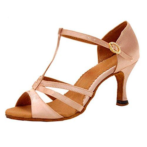 YFF Gift Women dance Shoes Ballroom latin Dance tango dancing shoes 7CM,Apricot color,41