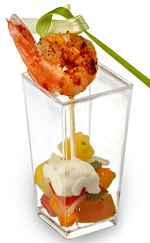 Zappy tall square mini cube 3oz clear plastic tasting for Mini dessert recipes in shot glasses uk