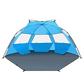 quality design 334a6 ddd91 TAGVO Pop Up Beach Tent Sun Shelter Easy Set Up Tear Down, Portable Instant  Lightweight Beach Baby Canopy, UPF 50 Plus Sun Protection 3 Mesh Screen ...