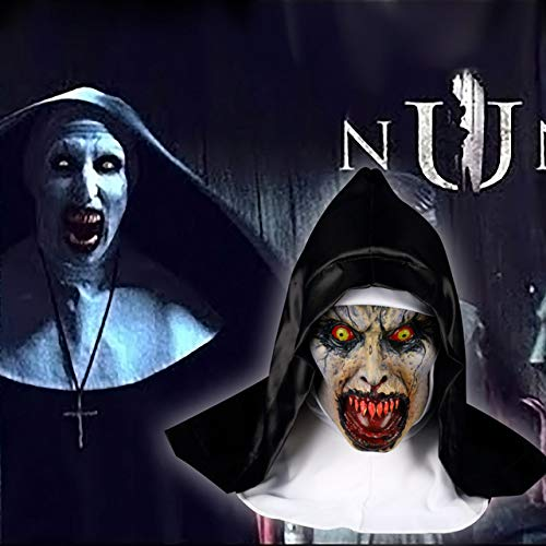 Monstleo The Nun Mask, Hood Adult Scary Horrible Halloween mask for Women Costume Masquerade