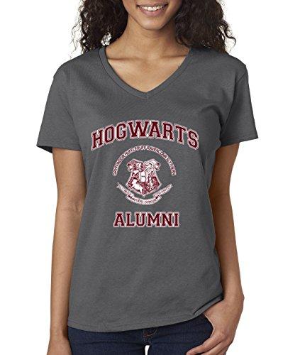 (New Way 129 - Women's V-Neck T-Shirt Hogwarts Alumni Harry Potter School XL Charcoal)