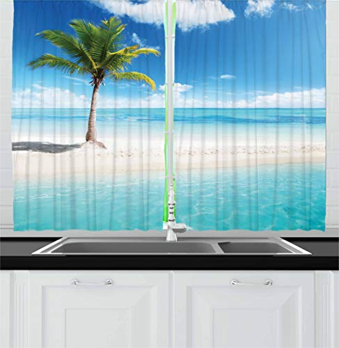 Ambesonne Ocean Kitchen Curtains, Idyllic Scenery Seashore