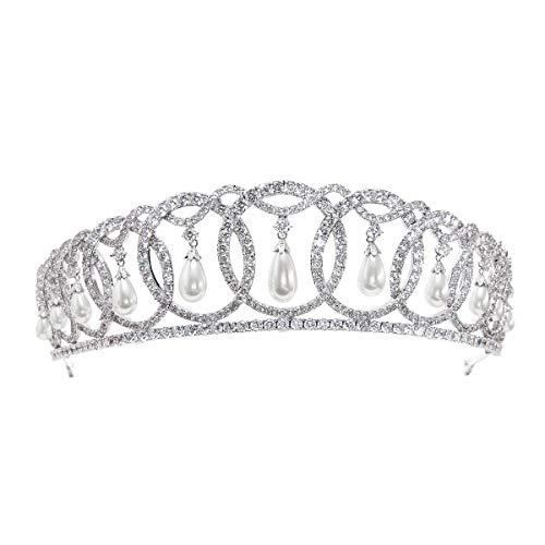 SepBridals Classic Cubic Zirconia CZ Pearls Wedding Bridal Tiara Crown Diadem Women Hair Accessories CH10223 by SEPBRIDALS (Image #8)