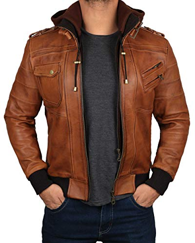Decrum Brown Leather Bomber Jackets for Men | [1100151] Edinburgh Tan, XS