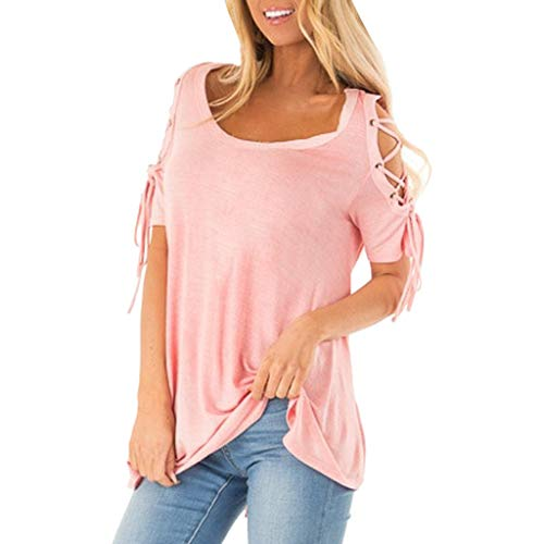 Effulow Women's Fashion Round Neck Casual Short Sleeve Round Neck Ladies Sexy Off-Shoulder Solid Color T-Shirt Top Pink