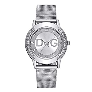 Womens Rhinestone Quartz Watches,Ladies Watches,Fashionable High Hardness Glass Mirror Men and Women Stainless Steel…