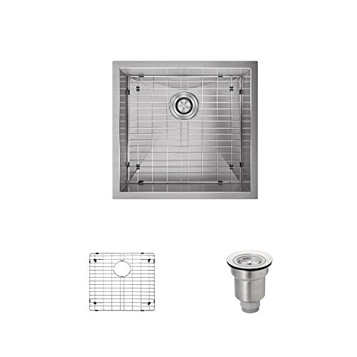 R1-1019-16 Rectangular Stainless Steel Utility Sink in 16-Gauge with Grid and Basket Strainer