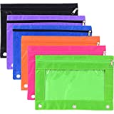Hicarer 6 Pieces Ring Binder Pouch Pencil Bag with Holes 3-Ring Zipper Pouches with Clear Window (6 Colors)