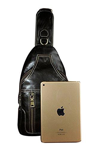 Genda 2Archer Cuero Casual Escalada Bolsa de Cuerpo Cruzado Bolsa de Pecho Mochila (19cm * 10cm * 32cm)