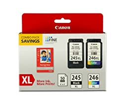 Canon PG-245XL/CL-246XL Ink and Photo Paper Glossy Combo Pack, Compatible to MX492, MG3020,MG2920,MG2924,iP2820,MG2525 and MG2420