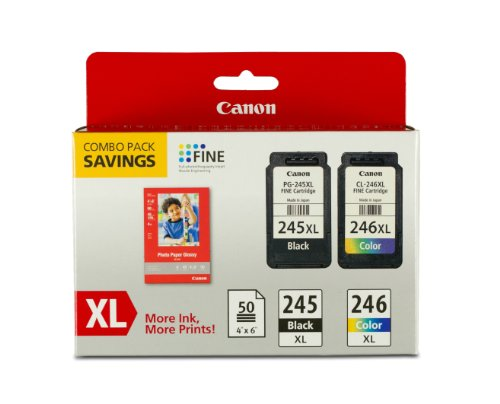 Canon Pg 245Xl Cl 246Xl Ink And Photo Paper Glossy Combo Pack  Compatible To Mx492  Mg3020 Mg2920 Mg2924 Ip2820 Mg2525 And Mg2420