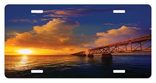 Ambesonne Landscape License Plate, Florida Keys Old Bridge Sunset at Bahia Honda Park USA Cloudscape Picture Print, High Gloss Aluminum Novelty Plate, 5.88
