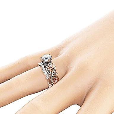 Amazon.com: Orcbee - Juego de anillos de compromiso florales ...