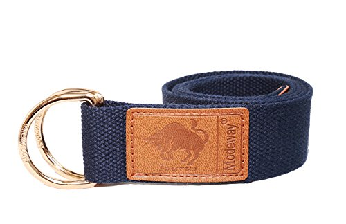 [Modeway Womens Mens Star Sign Canvas Web Double D-Ring Leather Gold Buckle Belt (L-XL(37