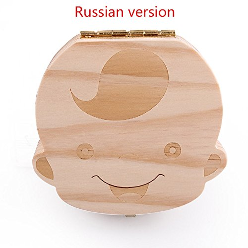 Tooth Box organizer for baby save Milk teeth Wood storage box great gifts 3-6YEARS creative for kids Boy and Girl (Russian, Boy) by xinbida