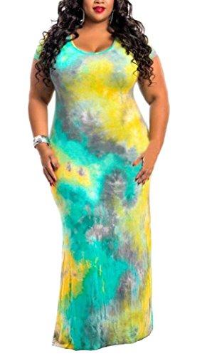 Size Sexy Bodycon Scoop Plus Tie Neck Dye 6 Jaycargogo Dress Women's Maxi Rtq88S