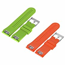 For Garmin Fenix 5X bands TenYun Quick Release 26mm Width Silicone Sport Bands w/Silver Buckle 51mm for Garmin Fenix 5X,Fenix 3/3Sapphire,Quatix 3,Tactix Bravo Smart Watch (Green&Orange)
