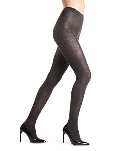 Memoi Merino Wool Solid Knit Tights | Women's Hosiery | Nylons Dark Grey Heather ML 510 Small/Medium